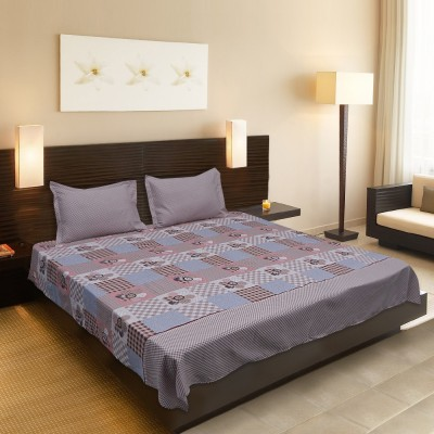 Criss Cotton Silk Blend Abstract King sized Double Bedsheet