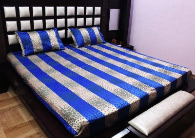 Milan Polycotton, Jacquard, Silk Striped King sized Double Bedsheet