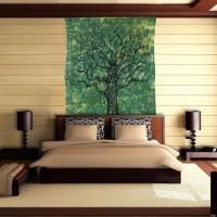 Mandala Tapestry Cotton Printed Single Bedsheet(1 Bedsheet, Green, Black)