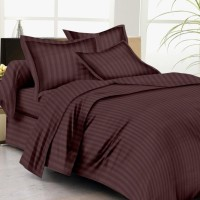 Home craze Cotton Striped Double Bedsheet(1 bedsheet with 2 pillow, Brown)