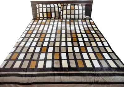 Amk Home Decor Silk Blend Checkered Double Bedsheet