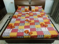 Stylus Cotton Floral Double Bedsheet(1 Double Bedsheet, 2 Pillow Covers, Multicolor)