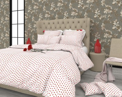 The White Moss Cotton, Satin Floral King sized Double Bedsheet
