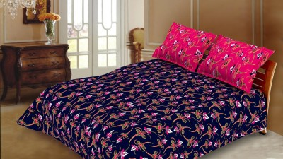 Blush Cotton Floral Double Bedsheet