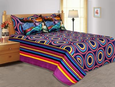 Salona Bichona Cotton, Satin Geometric King sized Double Bedsheet