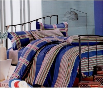 Homenblingss Cotton Checkered Queen sized Double Bedsheet