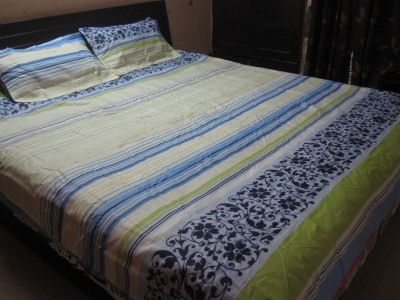 AyushFabrics Linen Floral Double Bedsheet