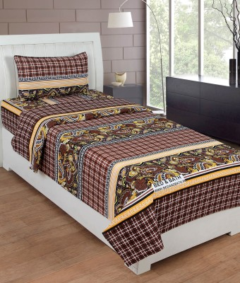 Bed & Bath Cotton Checkered Single Bedsheet