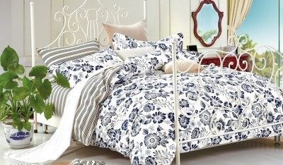 Silver Thread Cotton Floral King sized Double Bedsheet