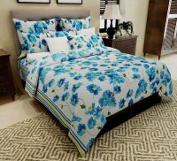 Home Candy Cotton Floral Double Bedsheet(1 Double Bedsheet, 2 Pillow Covers, Blue, White)