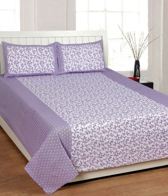 Swastik Purple Cotton Double Bedsheet With 2 Pillow Covers Cotton Abstract Double Bedsheet