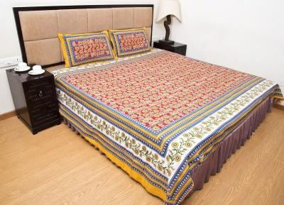 Little jaipur Cotton Floral Double Bedsheet