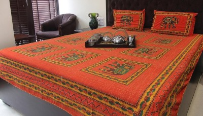 Glitter Cotton Embroidered Double Bedsheet