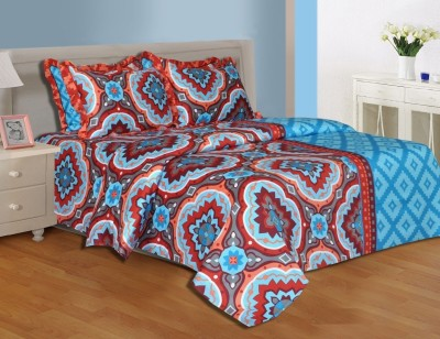Salona Bichona Cotton, Satin Abstract King sized Double Bedsheet