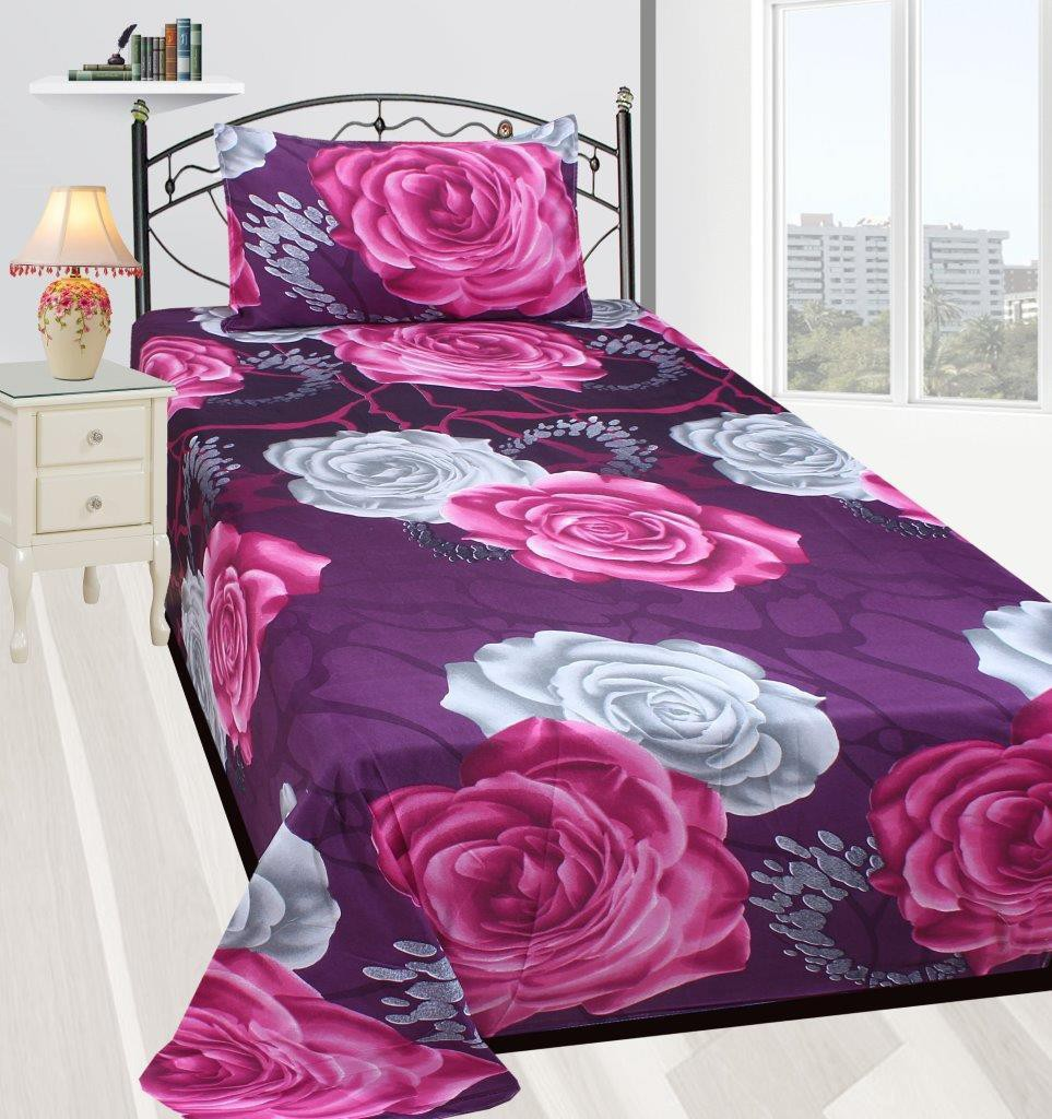Zain Polycotton 3D Printed Single Bedsheet(1 SINGLE BED SHEET, 1 PILLOW COVER, MULTICOLOUR)