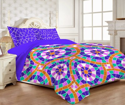 MYCK Cotton Abstract King sized Double Bedsheet