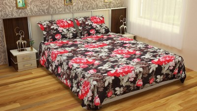 The Chaddar Polyester Silk Blend Floral Double Bedsheet