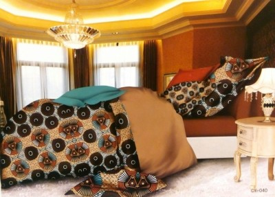 Night Gold Cotton, Satin Abstract Double Bedsheet