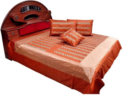 Shilpbazaar Silk Double Bed Cover(Red, 1 Double Bedcover, 2 Cushion Covers, 2 Pillow Covers)