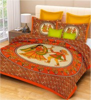 Metro Living Cotton Printed Double Bedsheet(1 Double Bed Sheet With 2 Pillow Cover, Orange) best price on Flipkart @ Rs. 573