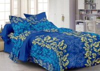 Story@Home Cotton Floral Double Bedsheet(1 Double Bedsheet With 2 Pillow Covers, Blue)