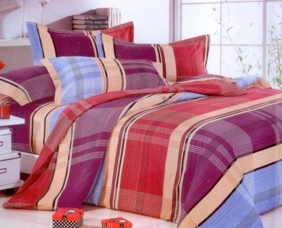 Silver Thread Polycotton Checkered Double Bedsheet