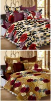 Story@home Cotton Floral Double Bedsheet(2 Double Bedsheet, 4 Pillow Cover, Red)