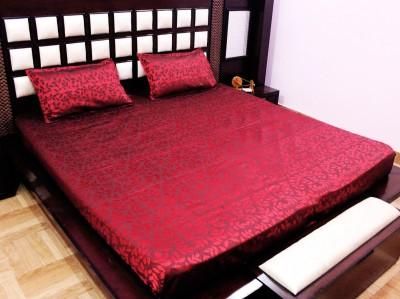 Milan Polycotton, Jacquard, Silk Self Design King sized Double Bedsheet