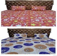 Bedsheet Zone Cotton Geometric Double Bedsheet(2 Bedsheet, 4 Pillow Covers, Multicolor)