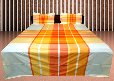 Shoppeholics Cotton Striped Double Bedsheet