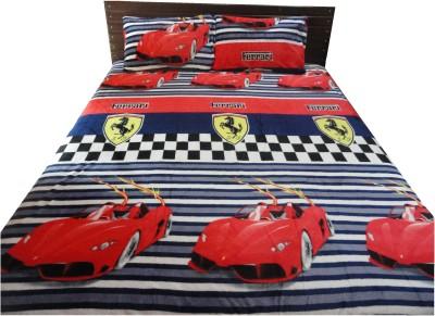 Amk Home Decor Silk Blend Cartoon Double Bedsheet