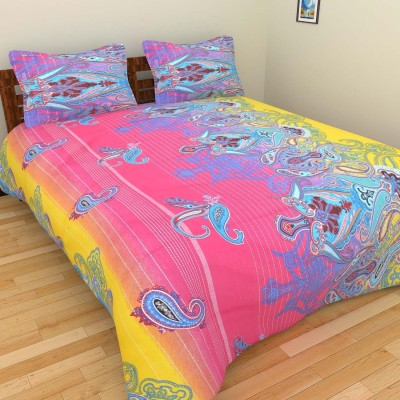 Abhomedecor Cotton Abstract Double Bedsheet