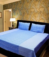 Madhav Products Cotton Floral Double Bedsheet(1Double BedSheet And 2Pillow Covers, Blue)