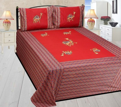 Mable Cotton, Silk Embroidered Double Bedsheet