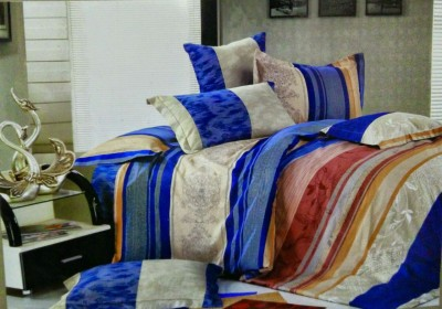 R Decor Cotton Striped King sized Double Bedsheet