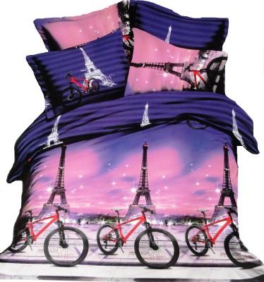 Amk Home Decor Polycotton Striped Single Bedsheet