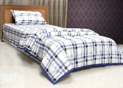 CocoBee Cotton Checkered Single Bedsheet