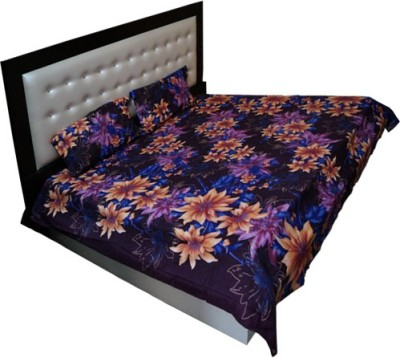 Qualityfab Cotton Floral Double Bedsheet