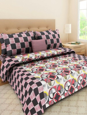 S Redish Cotton Checkered Double Bedsheet