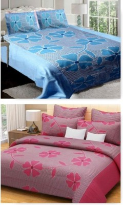 om trading co. Cotton Floral King sized Double Bedsheet