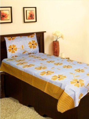 Attractivehomes Cotton Floral Single Bedsheet