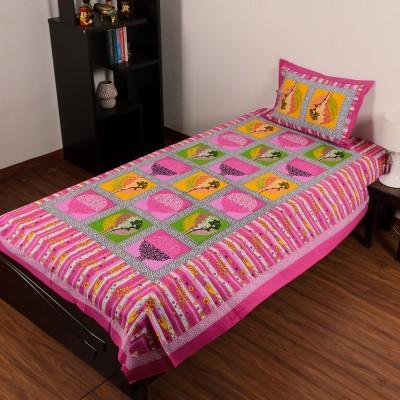 eCraftIndia Cotton Floral Single Bedsheet