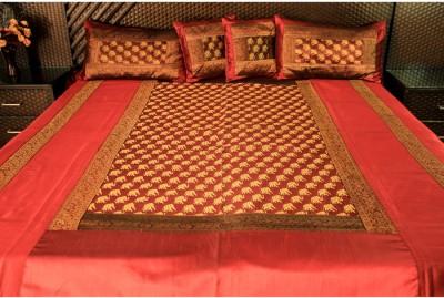 Ramabhakta Silk Geometric Double Bedsheet