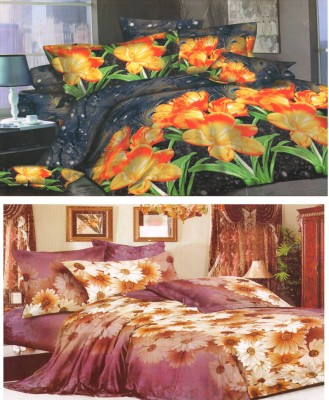 Homefab India Polycotton Floral Double Bedsheet