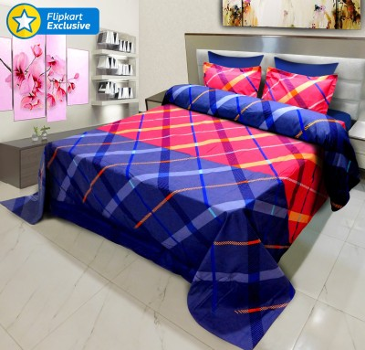 Signature Polycotton Checkered King sized Double Bedsheet