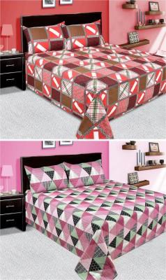 Shiv Textile Cotton Floral Double Bedsheet(2 Double Bedsheet, 4 Pillow Covers, Multicolor)