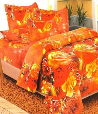 Fablinen By Fablooms Polycotton Floral Double Bedsheet