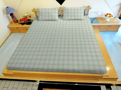 Hemlines Polyester Checkered Double Bedsheet