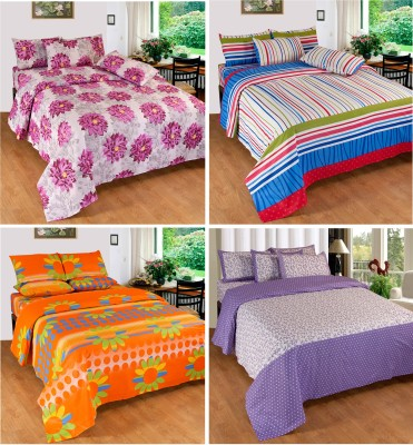 Optimistic Home Furnishing Cotton Self Design Double Bedsheet