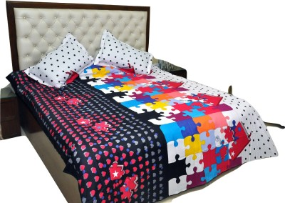 RKPRODUCT Cotton 3D Printed Double Bedsheet